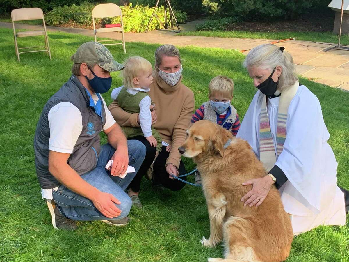 Lexi, an 8-year-old golden retriever accompanied by her family - Barrett, Turner, Lauren and Fisher Risley - is blessed by the Rev.Peggy Hodgkins outside Trinity Episcopal Church in Southport Sunday, Oct. 4, during the annual Blessing of the Animals.