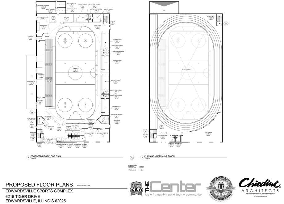 Preliminary floor plan for the proposed ice rink and teen center, now called The Center. Photo: For The Intelligencer