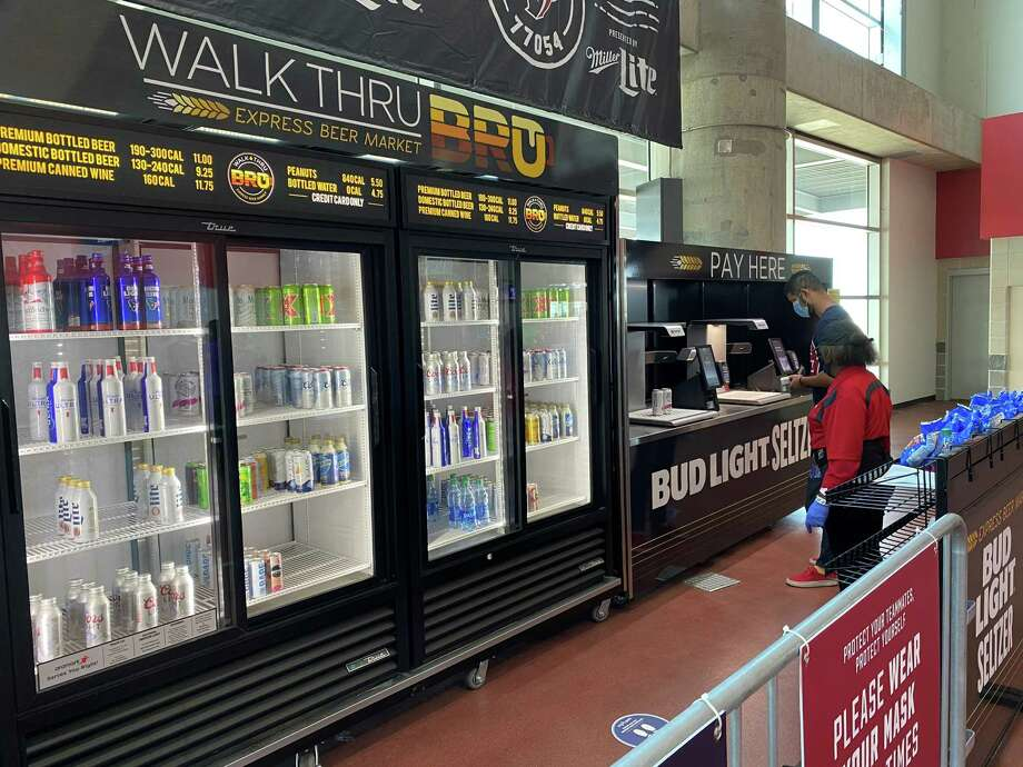 The Walk-Thru Bru system at NRG Stadium during Texans games that allows fans to buy beer without any person-to-person interaction. Photo: Matt Young, Chron.com