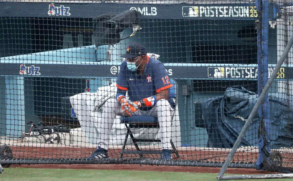Houston Astros manager Dusty Baker Jr. waits to watch Jose Altuve and George Springer take live at-bats against pitcher Brandon Bailey during batting practice and workouts, Sunday, October 4, 2020, in Los Angeles, as the Astros prepared to take on the Oakland Athletics in Game 1 of the ALDS, Monday, at Dodger Stadium.