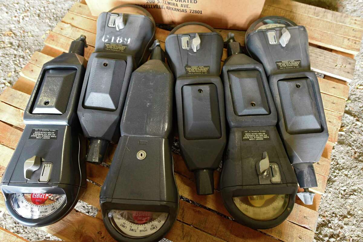 A small amount of the many old coin-fed street parking meters which will be auctioned off at the Troy Department of Public Works garage on Monday, Oct. 5, 2020 in Troy, N.Y. (Lori Van Buren/Times Union)