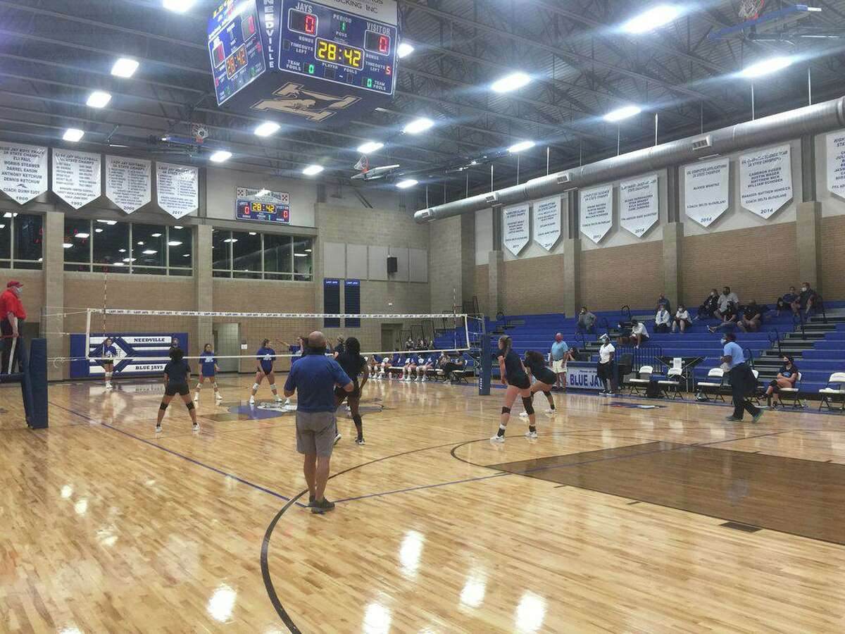 The Needville volleyball team competes in an August scrimmage prior to the 2020 regular season. The undefeated Blue Jays maintained the No. 1 ranking in the TGCA Class 4A poll.