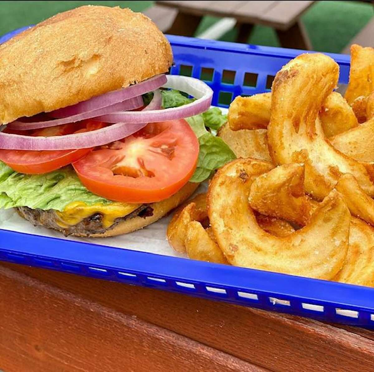 A burger and fries combo from Backyard on Broadway, which will reopen Oct. 15.