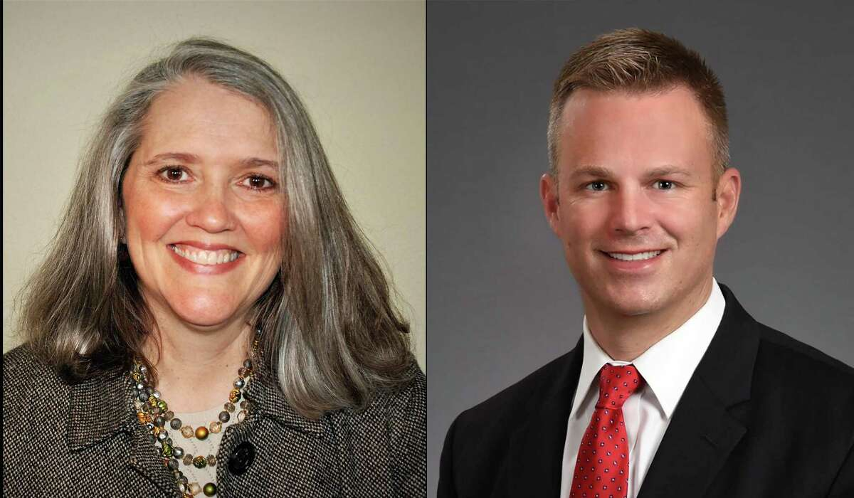 Angie Hanan (left) and incumbent Jason Burdine (right) are candidates for Fort Bend County Trustee position one in the upcoming November