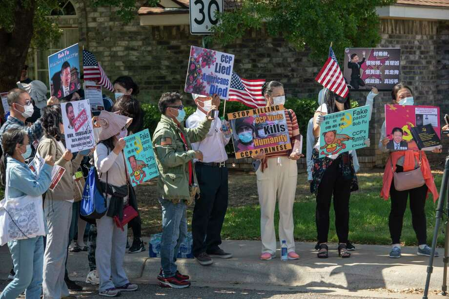 Protestors showed up outside of Bob Fu's, founder and president of China Aid, house on Monday, Oct. 5, 2020.  Jacy Lewis/Reporter-Telegram Photo: Jacy Lewis/Reporter-Telegram / MRT