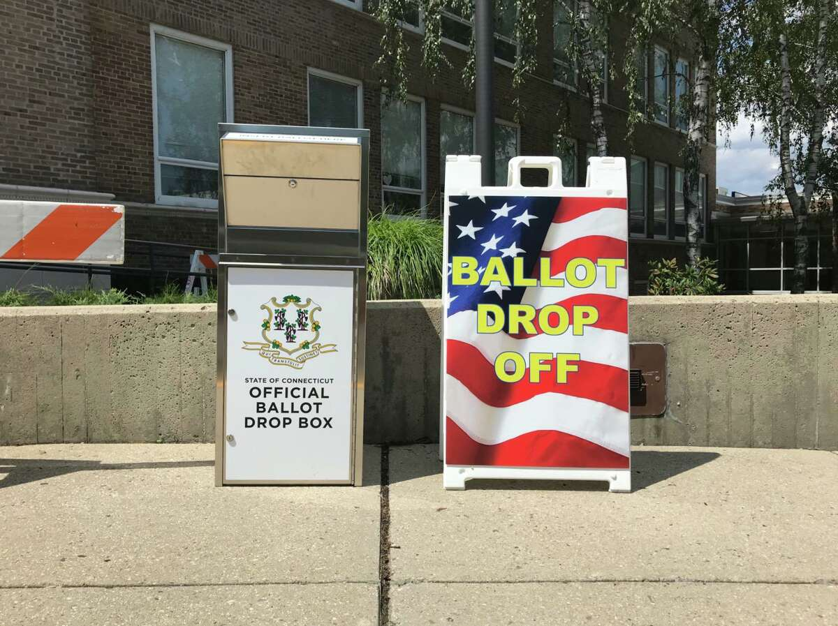 The Town of Darien has a ballot box outside for applications for absentee ballots and to submit ballots.
