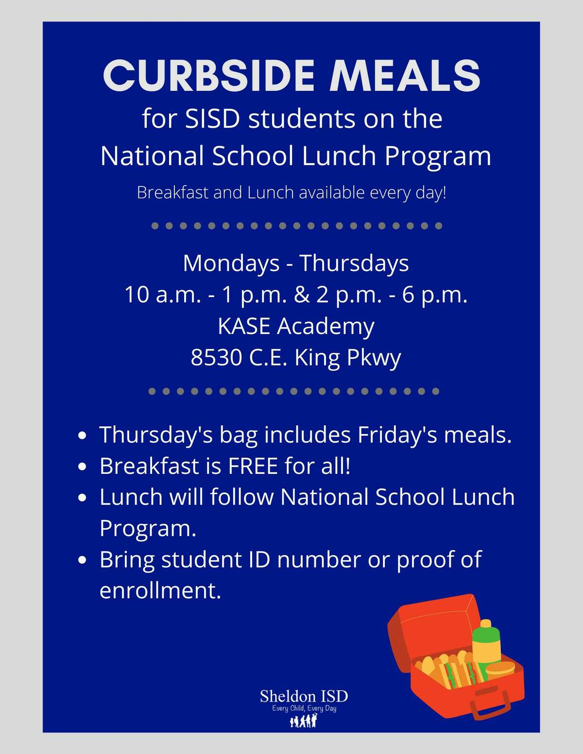 Starting Oct. 5, Sheldon ISD has changed its food distribution to students so it is in one central location.