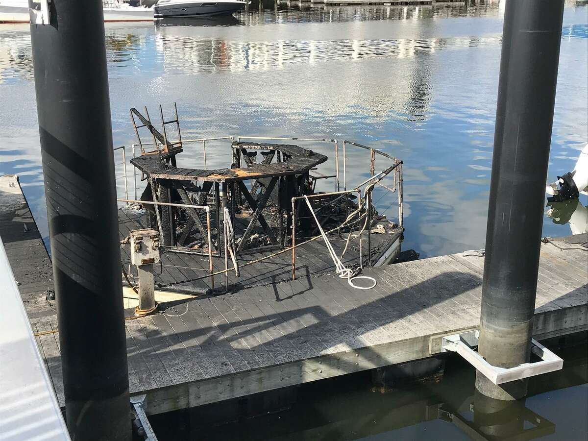 This picture shows the burned out remains of the Tiki hut, destroyed in Saturday's Stamford Harbor fire.