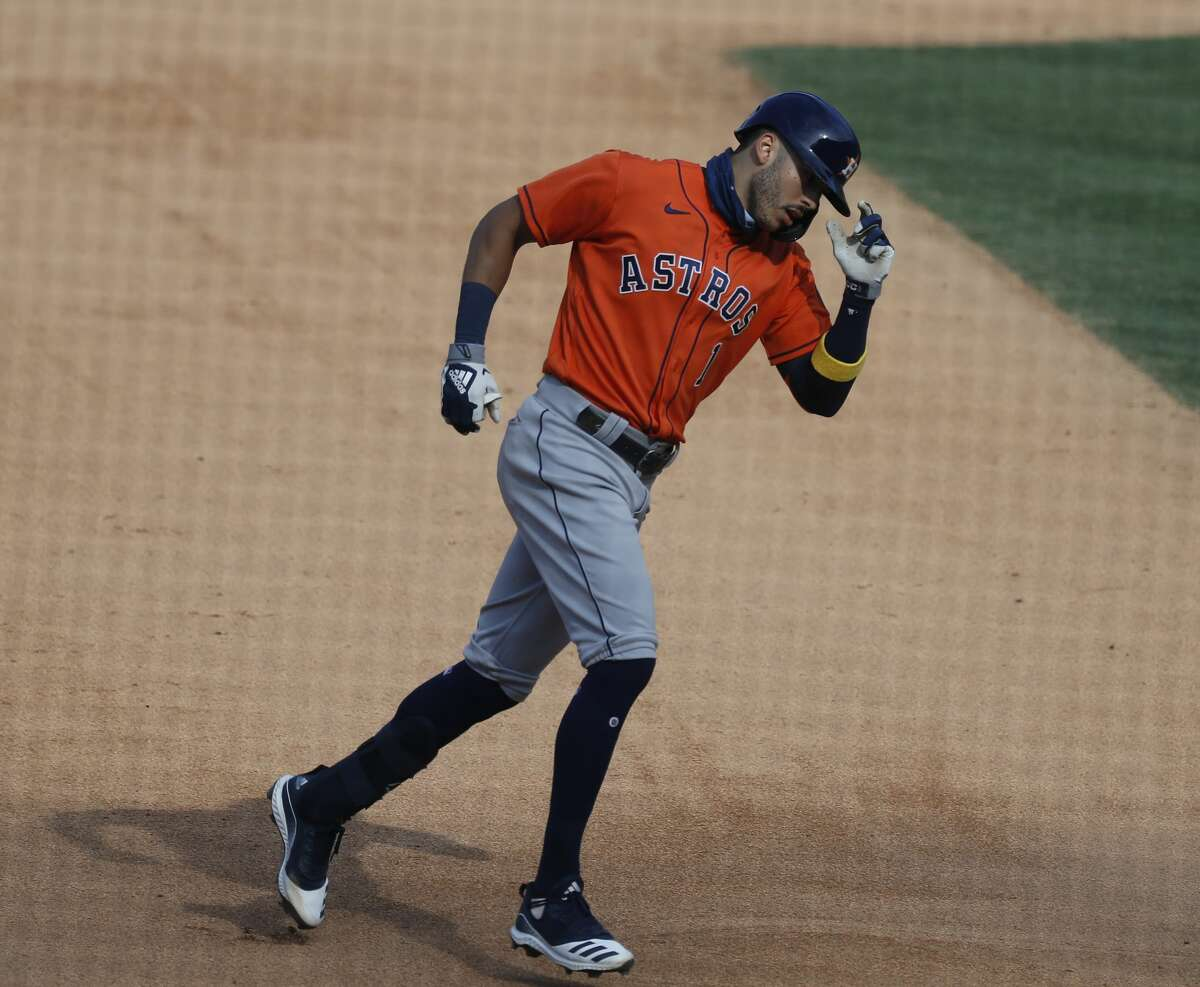 As you round second and third, grab the bill of your helmet. Correa has been doing this ever since his rookie season.