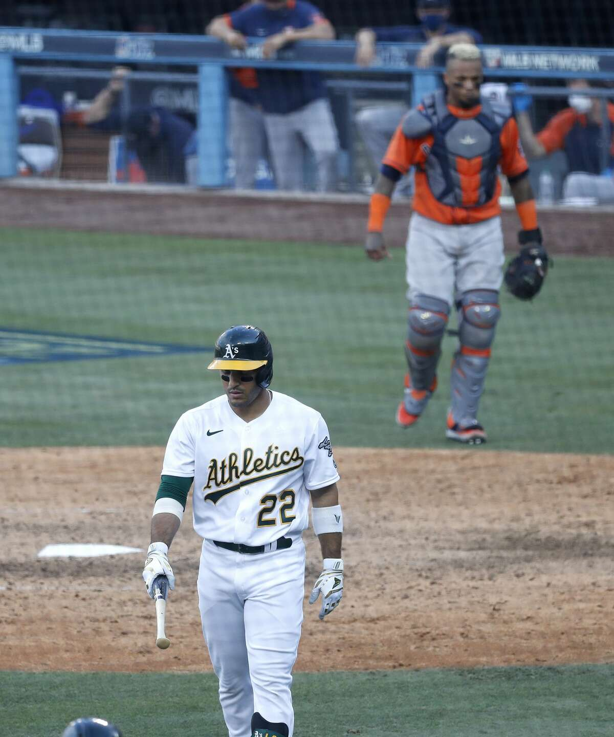 Oakland Athletics Ramon Laureano (22) reacts after Houston Astros catcher Martin Maldonado (15) caught his pop out during the ninth inning of Game 1 of the American League Division Series, Monday, October 5, 2020, in Los Angeles, at Dodger Stadium.
