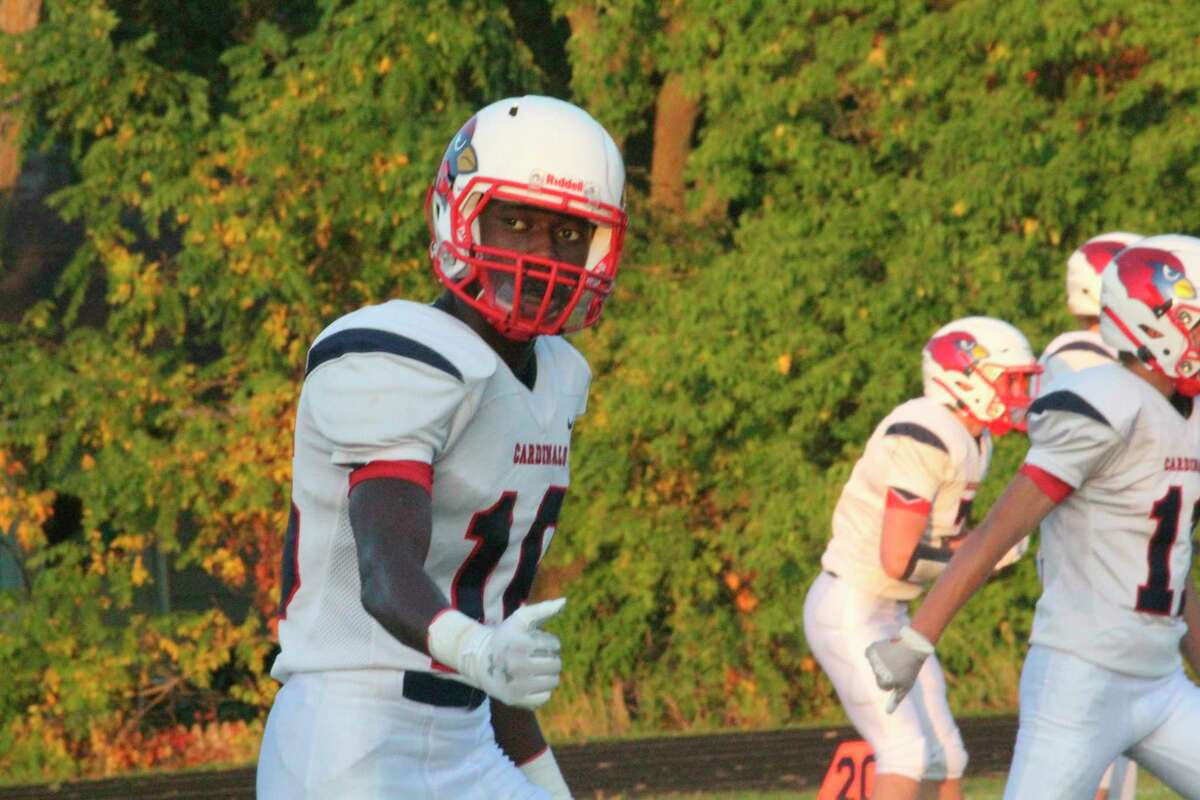 Big Rapids'Jamal Strickland gets ready to go out for a pass earlier this season. (Pioneer photo/John Raffel)