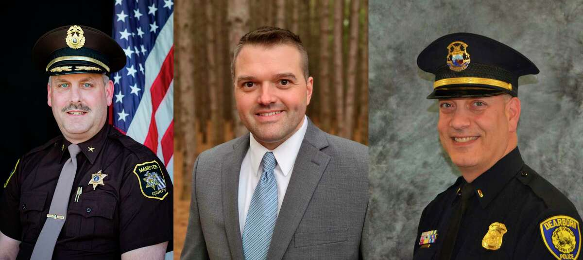 (From left) Sheriff Ken Falk (D), Brian Gutowski (R) and Douglas Topolski (NPA) are vying for Manistee County sheriff in the Nov. 3 election. (Courtesy photos)