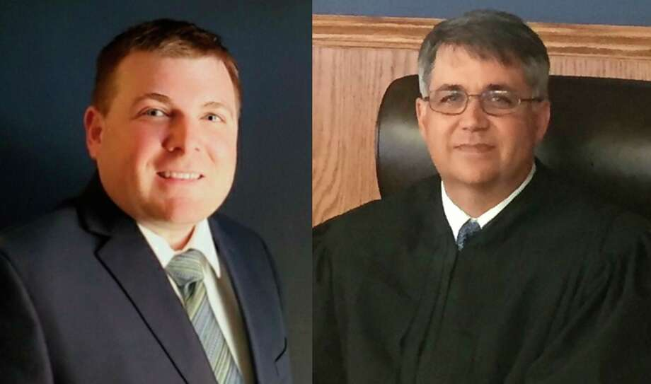 David Thompson (left) is taking on incumbent judge David Thomspon for 19th Circuit Court judge, which serves Manistee and Benzie counties. (Courtesy photo)