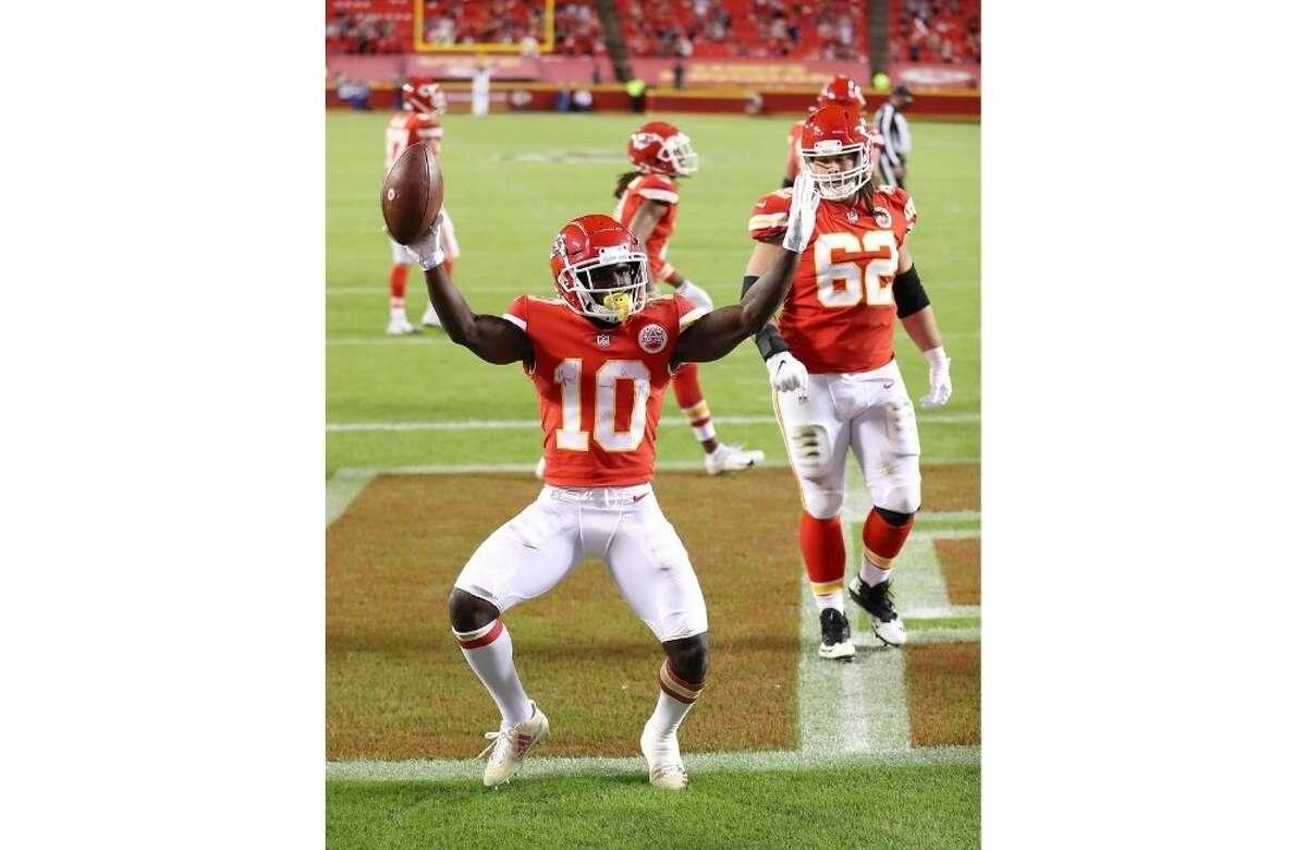 Kansas City's Tyreek Hill scores a touchdown in the third quarter Monday night at Arrowhead Stadium.