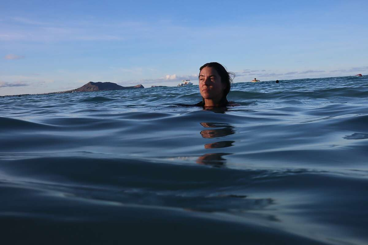 Rower Lia Ditton floats on the water on October 1, 2020 in Lanikai, HI. The 40-year-old professional sailor broke a women's world record time after she arrived at the Waikiki Yacht Club on Saturday, Sept. 12.