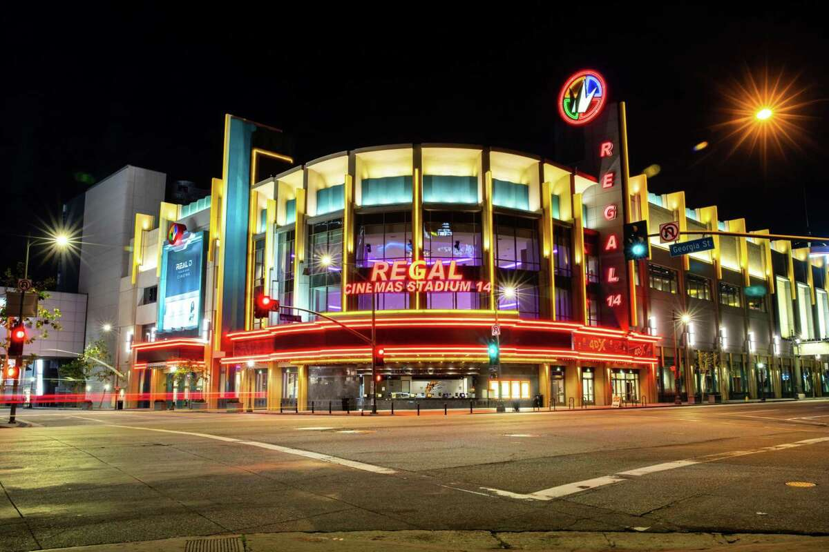 The Regal LA Live & 4DX theatre is lit up and empty at 8 p.m., in downtown Los Angeles, CA, on Saturday night, March 21, 2020. Cineworld Group Plc is set to shutter its theaters in the U.K. and the U.S.