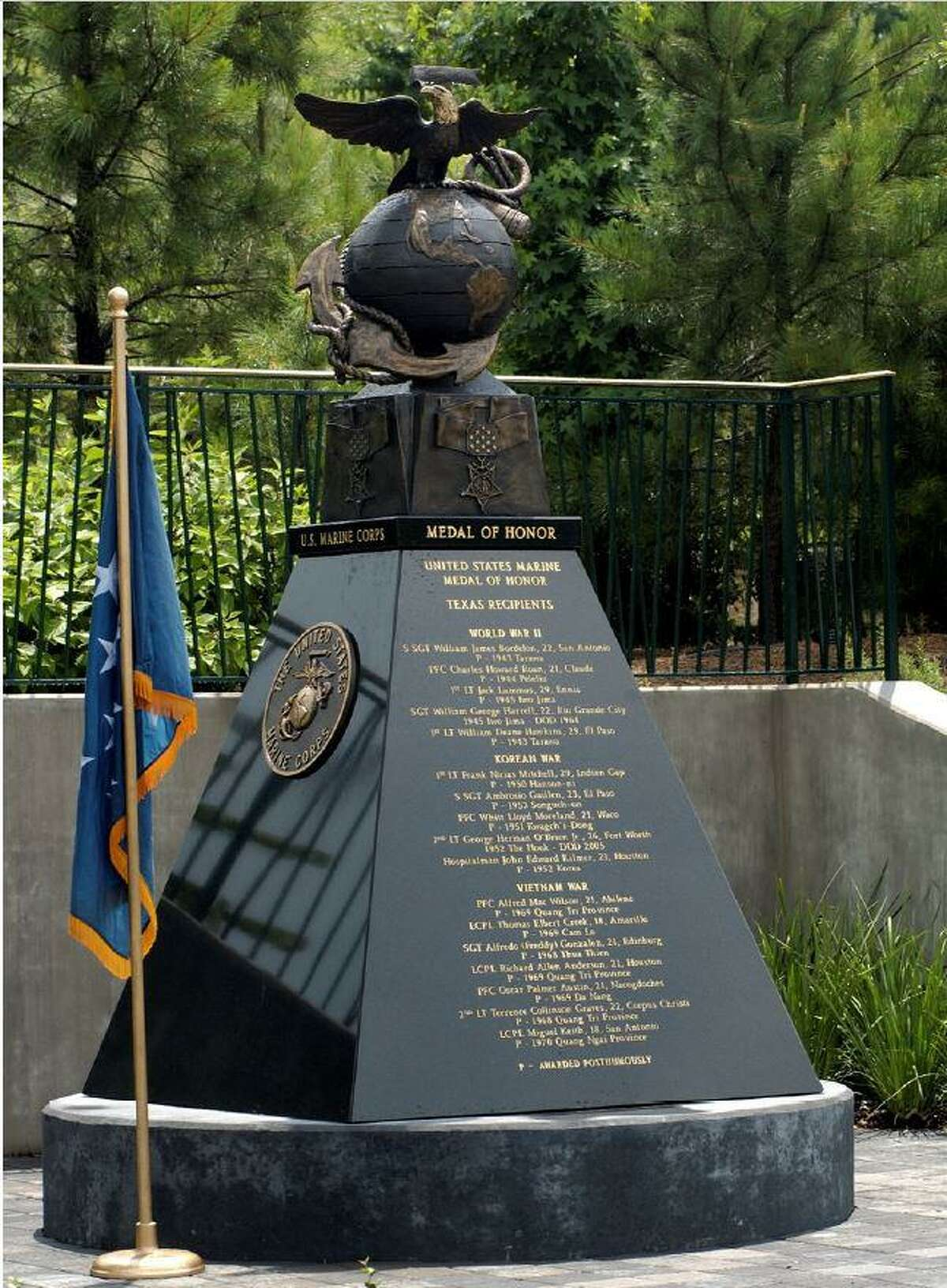 The annual U.S. Marine Corps birthday celebration will occur at 4 p.m. Nov. 6 at Town Green Park. This statue honors 17 recipients of the Medal of Honor and will be the central site of the celebration in Town Green Park. No seating will be available this year due to COVID-19 safety issues.