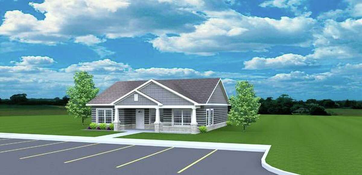 This is an architectural rendering of the planned community building that will be constructed as part of the new Diamond Apartments of Jerseyville residential complex.