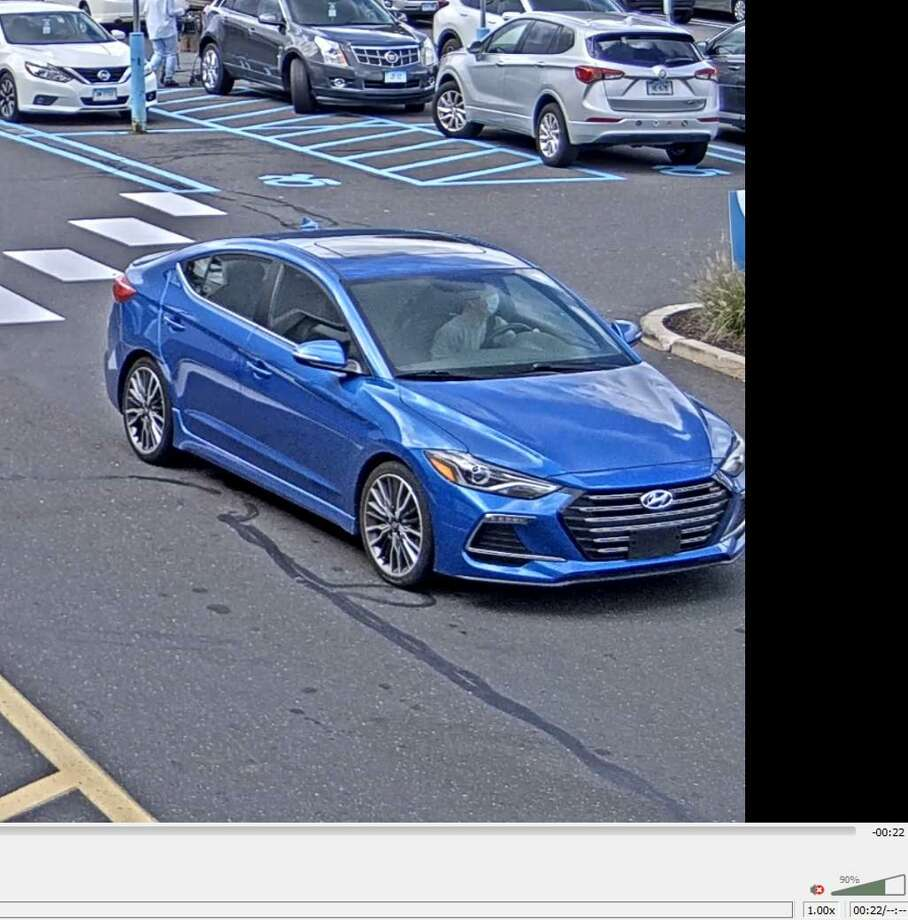 Police said the suspect has been seen using a 2016 to 2019 blue Hyundai Elantra Sport in each incident. Photo: / Fairfield Police Department / Contributed