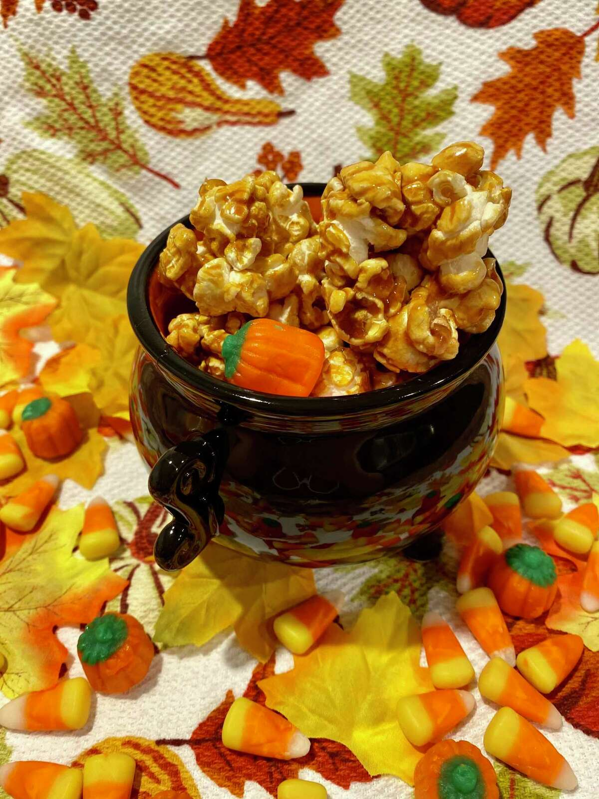 Caramel popcorn balls add a sweetness to October.