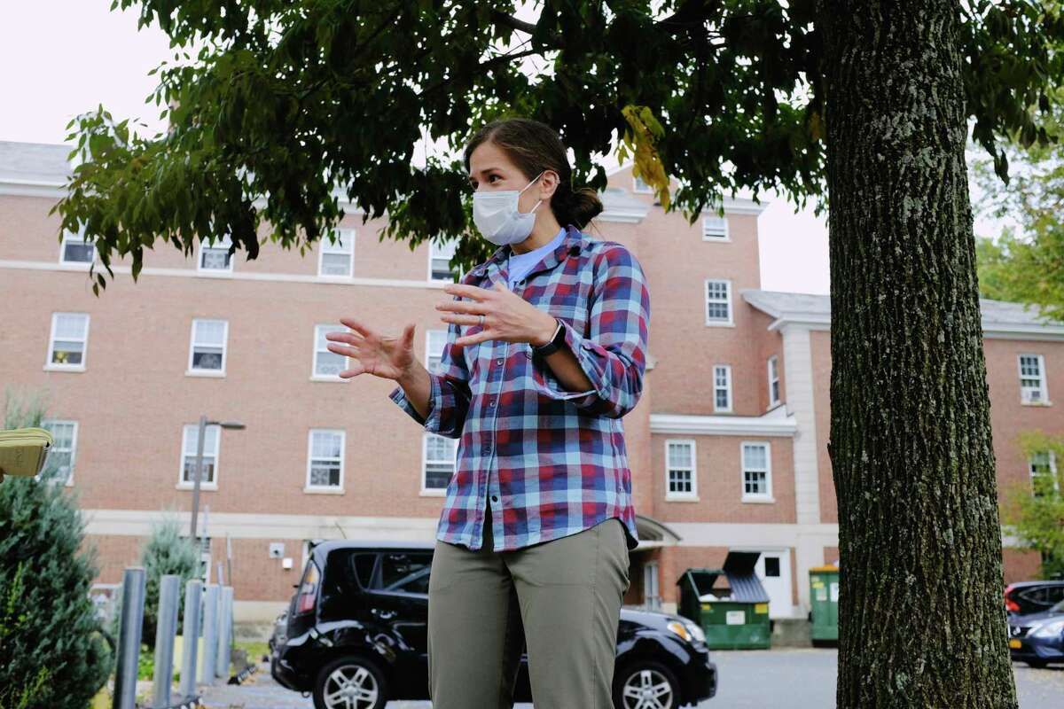 Kate Meierdiercks, associate professor and chair of Environmental Studies and Sciences at Siena College, talks about the wastewater testing being done at the college on Tuesday, Oct. 6, 2020, in Loudonville, N.Y. The college is testing the wastewater from dorms on a weekly basis to monitor for COVID. (Paul Buckowski/Times Union)