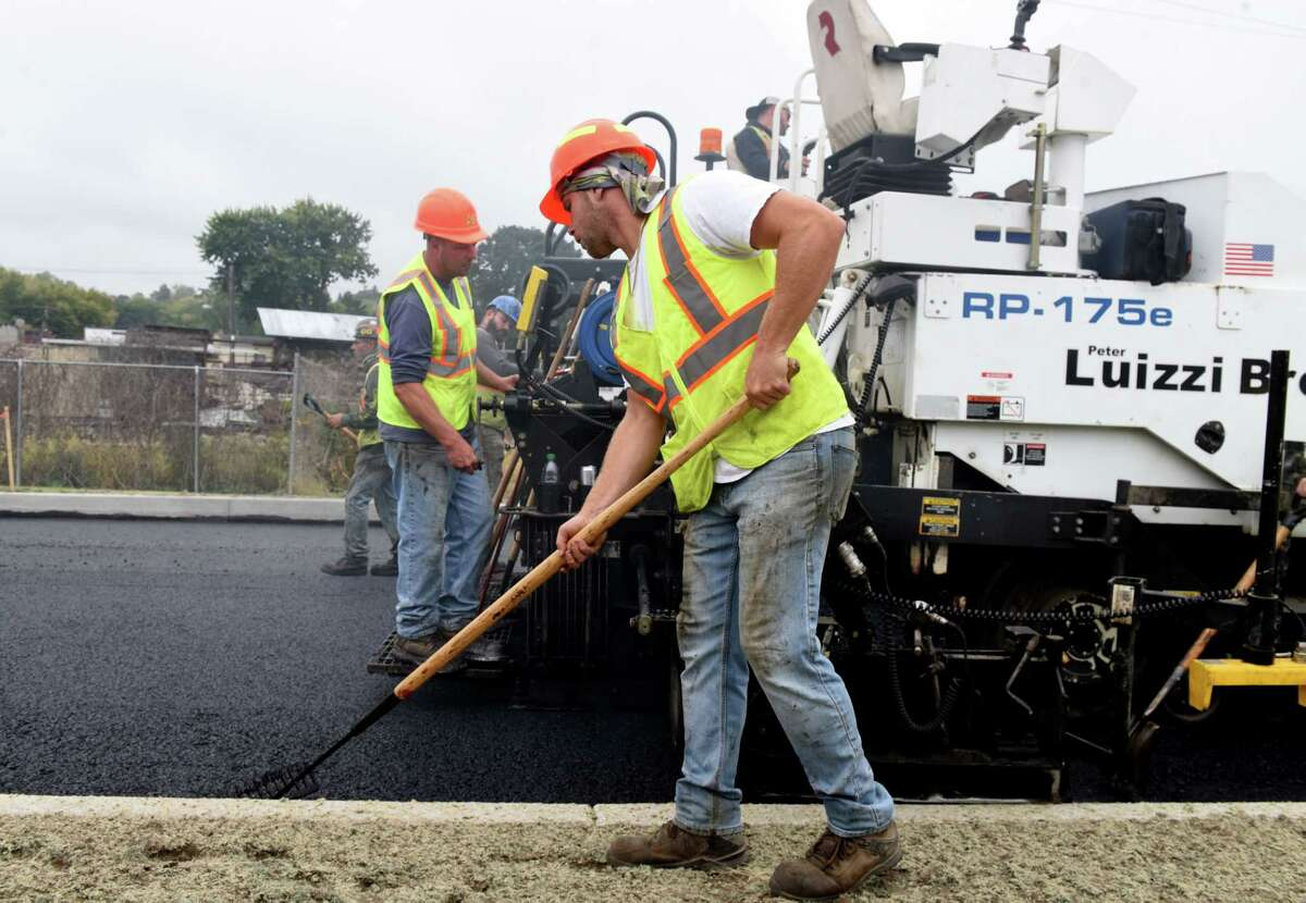The South Troy Industrial Park Road is paved on Tuesday, Oct. 6, 2020, in Troy, N.Y. The new 1.3 mile traffic route is aimed at redirecting heavy trucks traffic away from the surrounding residential neighborhood. (Will Waldron/Times Union)