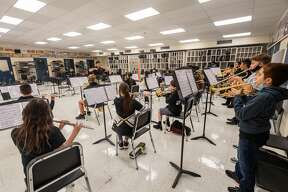 Nederland's Central Middle School's Jazz Band practices at the school on Tuesday moring. The band has been ranked as the top middle school jazz band in Texas. Photo made on October 06, 2020. Fran Ruchalski/The Enterprise