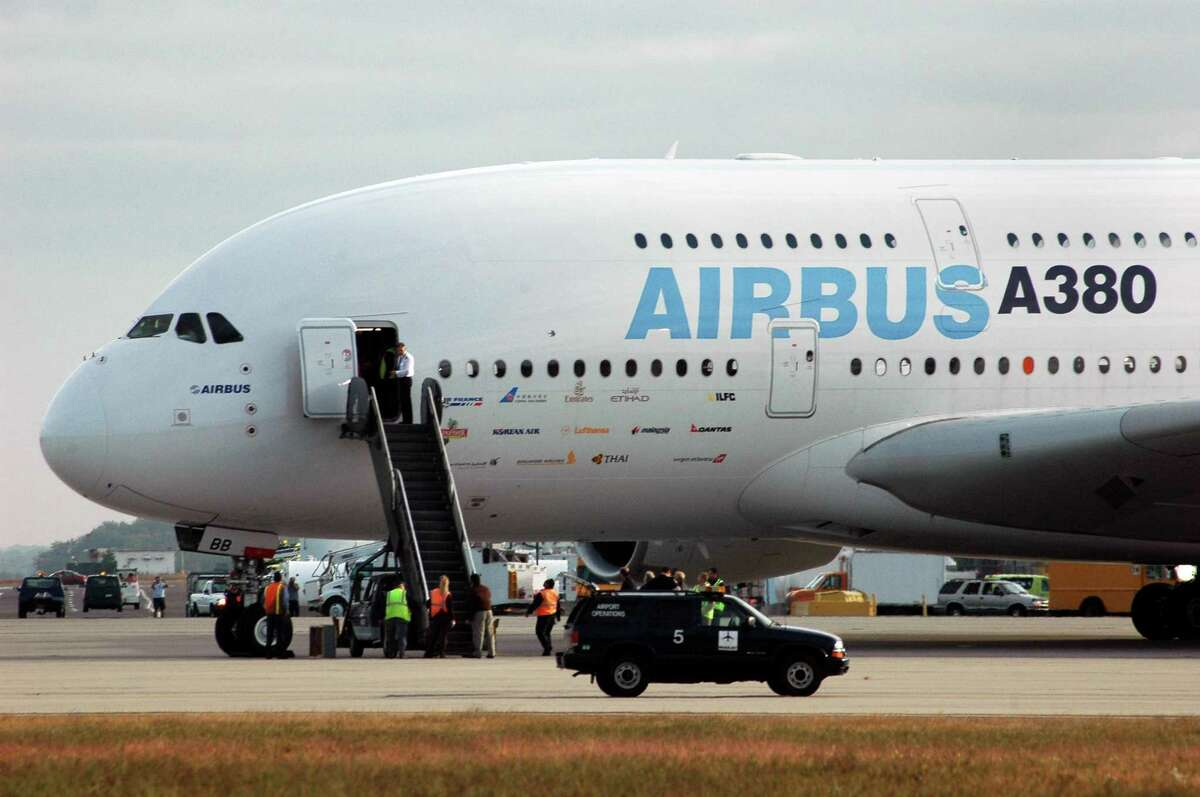 The Airbus A380 is seen after landing,Tuesday, Oct. 2, 2007, for its first visit to Bradley International Airport in Windsor Locks, Conn.