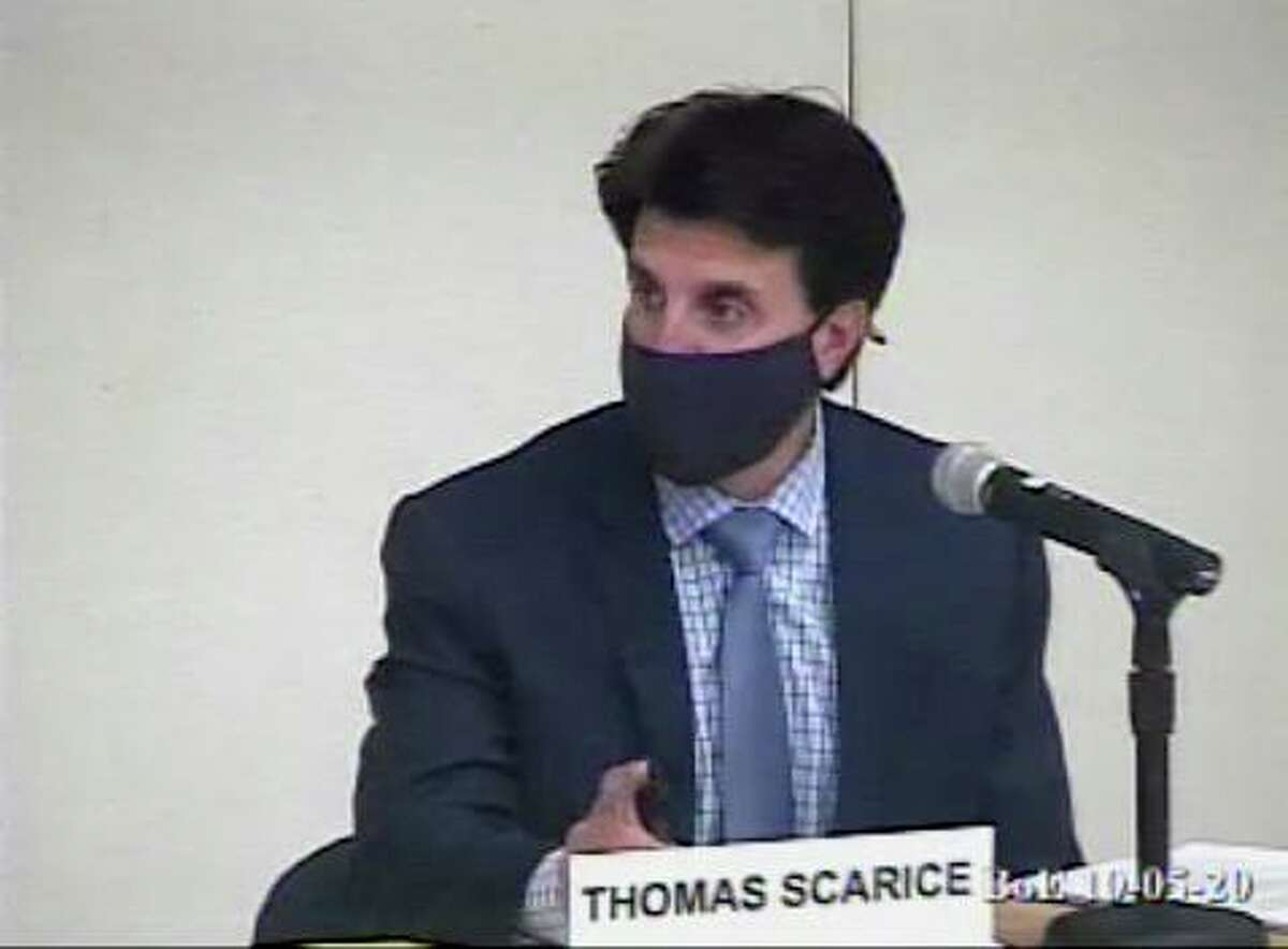 Westport Superintendent Thomas Scarice at a school board meeting on Monday. Taken Oct. 5, 2020.