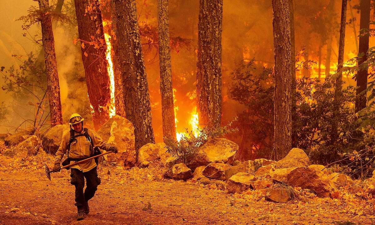 A firefighter walks away from flames as they quickly move through trees during the Glass fire continues to burn in Calistoga, Calif., on Oct. 1, 2020.