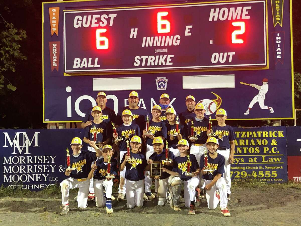 The Milford Little League 11-year-old All-Star baseball team went 5-0 to win the Doran Tournament title in Naugatuck. Milford posted wins over Peter Foley (7-6), Seymour (15-2) and in the playoffs topped Prospect (11-1), Peter Foley (7-2) and top-seeded Trumbull (6-2). Team members (front row) are Jack Marshner, Nick Idone, Owen Trice, Matty Martin, Derek Sansone and Kevin Cepettelli; (second row) Jaxson Staples, Kyle Daniels, Dalton Valiquette, JM Johnson, Brady O' Neil and Kenny Esposito; (third row) coaches Mike Staples, Anthony Idone, Dan Martin, and Andy Trice.