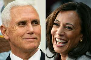 (COMBO) This combination of pictures created on October 06, 2020 shows US Vice President Mike Pence on October 08, 2019 in Washington, DC and Democratic vice presidential candidate California Senator Kamala Harris on November 21, 2019 in Atlanta, Georgia. - Harris hopes to deploy her former prosecutor's repertoire against Pence on October 7, 2020, during the only televised debate between the candidates for the vice-president of the United States. (Photos by Brendan Smialowski and SAUL LOEB / AFP) (Photo by BRENDAN SMIALOWSKI,SAUL LOEB/AFP via Getty Images)