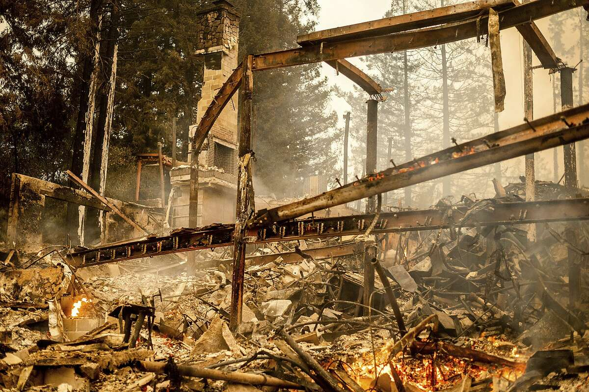 Charred framing remains on Sept. 28 at the Restaurant at Meadowood, which burned in the Glass Fire in St. Helena.