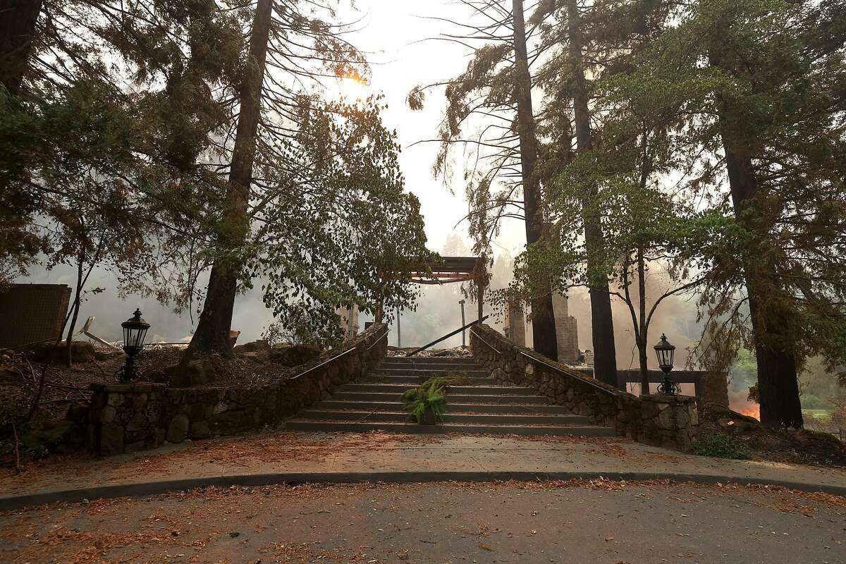 A stairway leads to the destroyed main building and restaurant at Meadowood Napa Valley luxury resort after the Glass Fire moved through the area.
