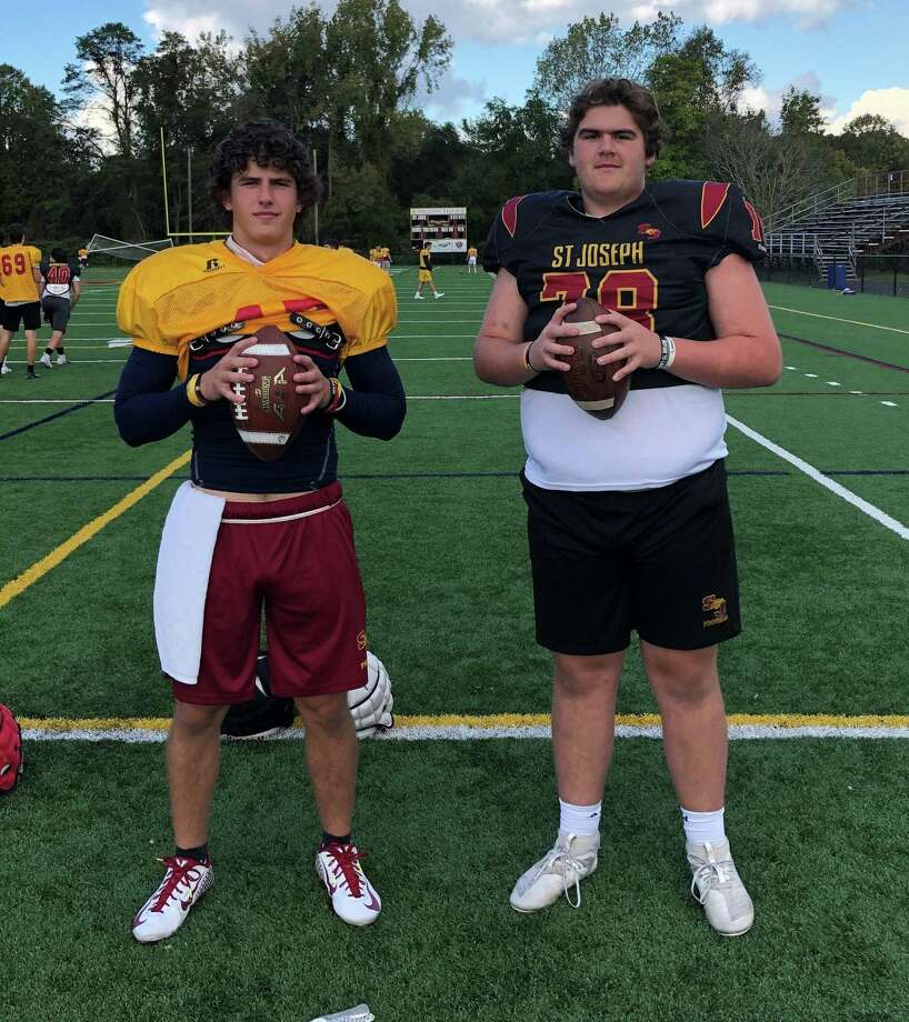 Jack Wallace and Max Gregor showed off their throwing arms at St. Joseph's 7 on 7 opener. Photo: St. Joseph Athletics / Contributed Photo / Trumbull Times