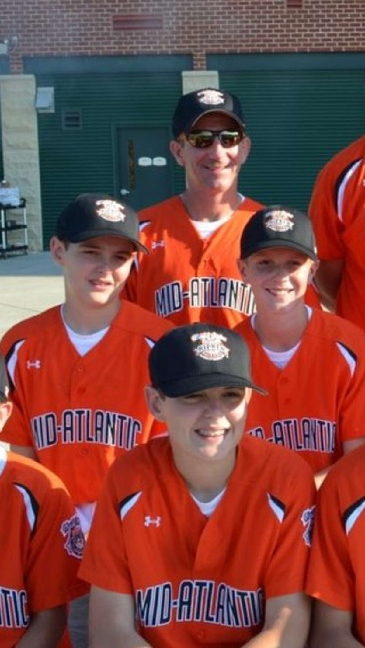 Photo of Ian Anderson, middle left, and Kevin Huerter, middle right, travel baseball teammates as youths. Ben Anderson, Ian's twin, is in front. Photo courtesy of Kevin Huerter.
