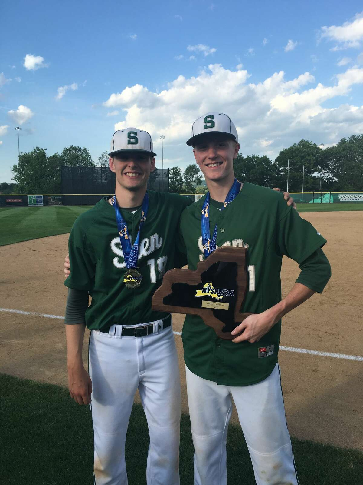 Photo of Ian Anderson (left) and Kevin Huerter (right) after winning a state baseball title at Shen in 2016. Courtesy of Kevin Huerter.
