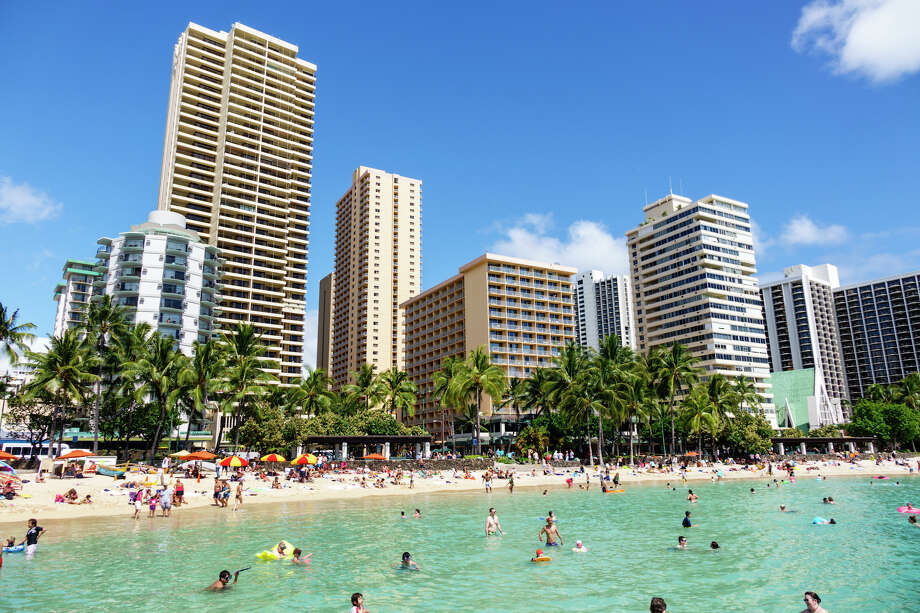 It will likely be a while until Hawaii's beaches fill up like this, even as the state's strict quarantine rules lift on Oct 15. Photo: Jeff Greenberg/Universal Images Group Via Getty Images / ©JeffreyGreenberg@aol.com