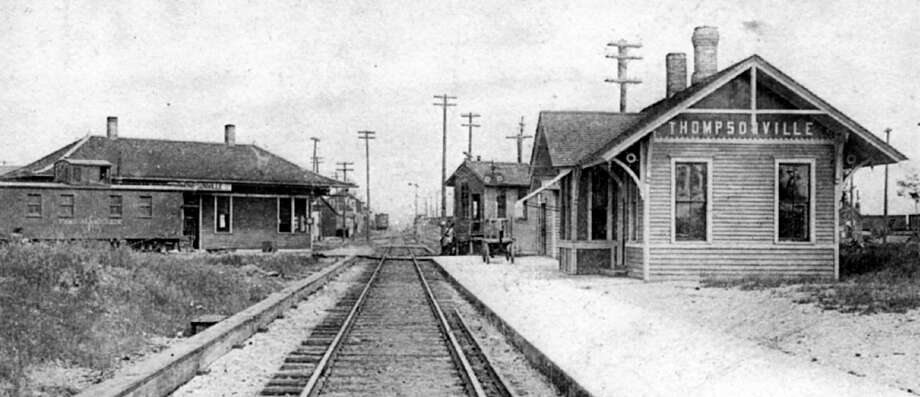 Looking north Pere Marquette depot is on left, the Ann Arbor depot is on the right with the switch tower building just beyond Ann Arbor depot, circa 1900. (Courtesy photo)