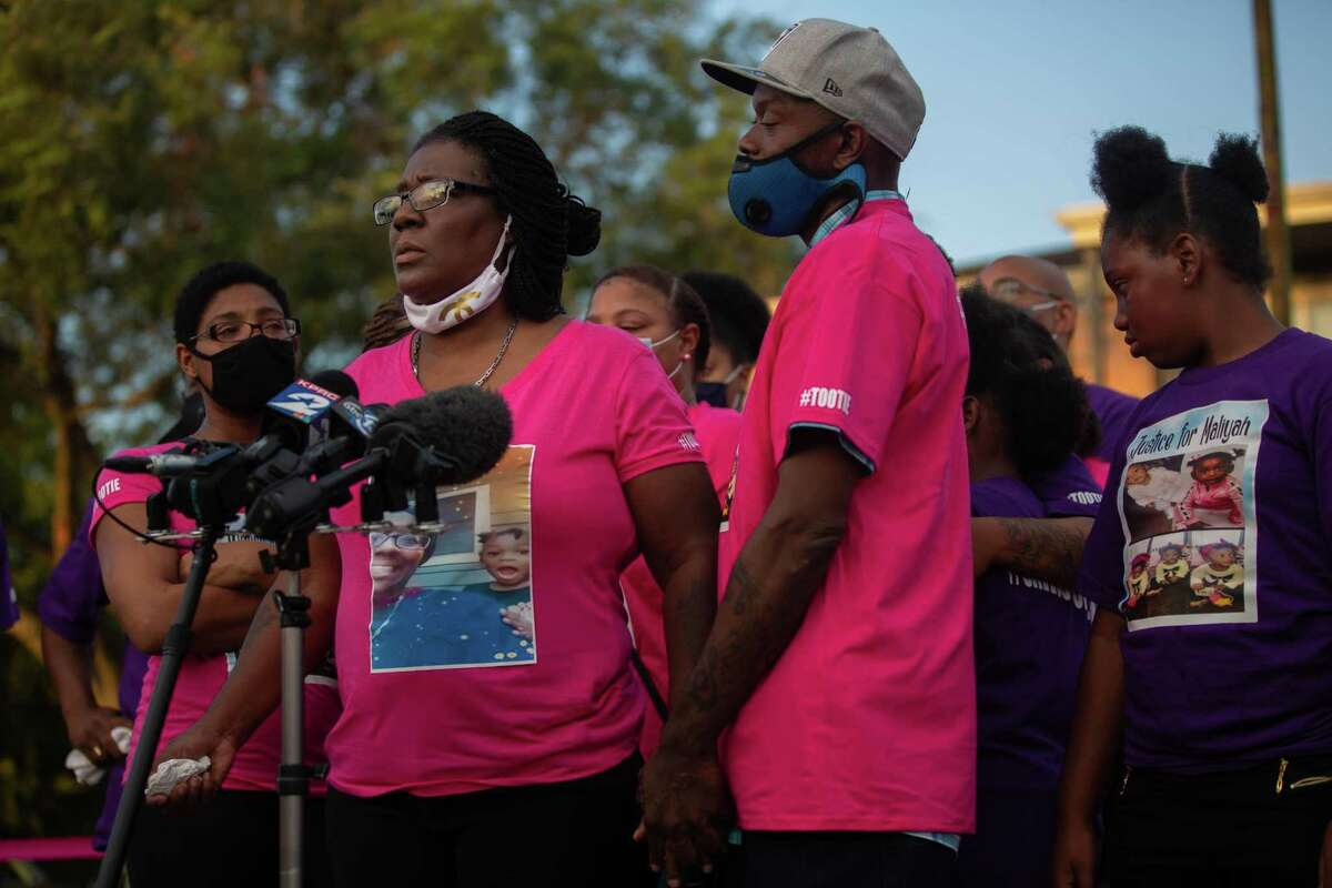 """Maliyah Bass' grandmother, Rosalie Jimerson, speaks at a vigil at the Sunset Crossing apartment complex in Alief on Saturday, August 29, 2020, where Maliyah was last seen. Jimerson frequently took care of Bass, who she called """"Tootie""""."""