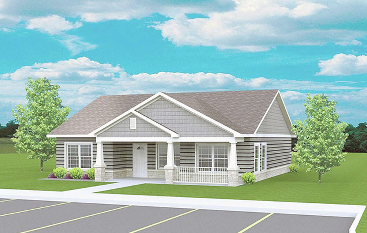 This is an architectural rendering of a planned community building that will be built as part of the new Diamond Apartments of Jerseyville residential complex.