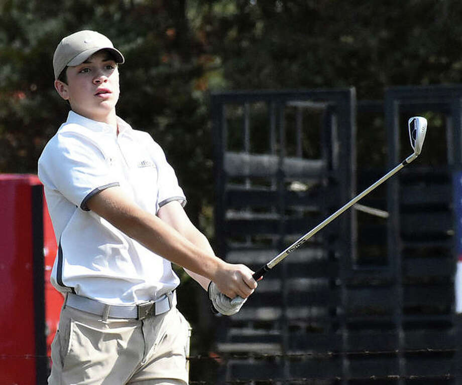 Father McGivney's Joey Hyten watches his tee shot on No. 9 at Timber Lakes Golf Course in Staunton on Tuesday during the Class 1A Mount Olive Regional. Photo: Matt Kamp|The Intelligencer
