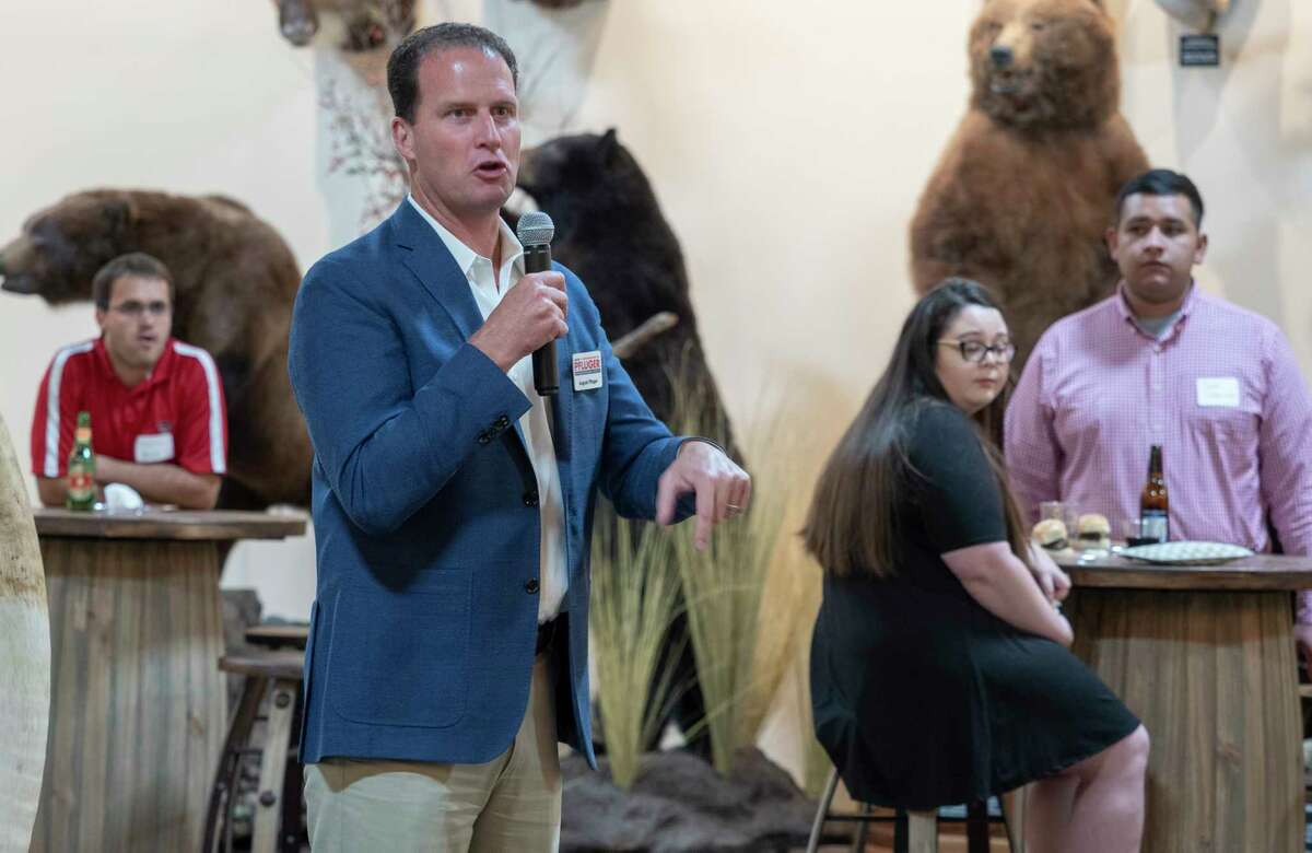 Senate Representative candidate August Pfluger speaks with area republicans 10/06/2020 evening during a meet and greet with Midland County Young Republicans at the West Texas Hunting and Fishing Heritage Museum. Tim Fischer/Reporter-Telegram