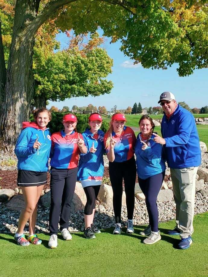 The Chippewa Hills golf team, Left to Right, Alyssa Miller, Ryleigh Allen, Felicity Chapman, Kerstin Stadtfeld, Hanna Herman and Head Coach Lenny Starck. (Courtesy photo)