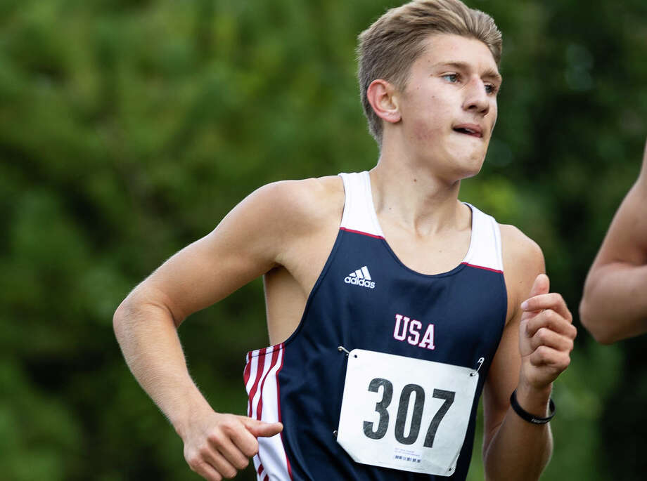 Unionville-Sebewaing Area's Ty Pavlichek and Bearcat Maze Guze finished first at the Ubly cross country meet held on Tuesday. Photo: Tribune File Photo / Quad N Productions