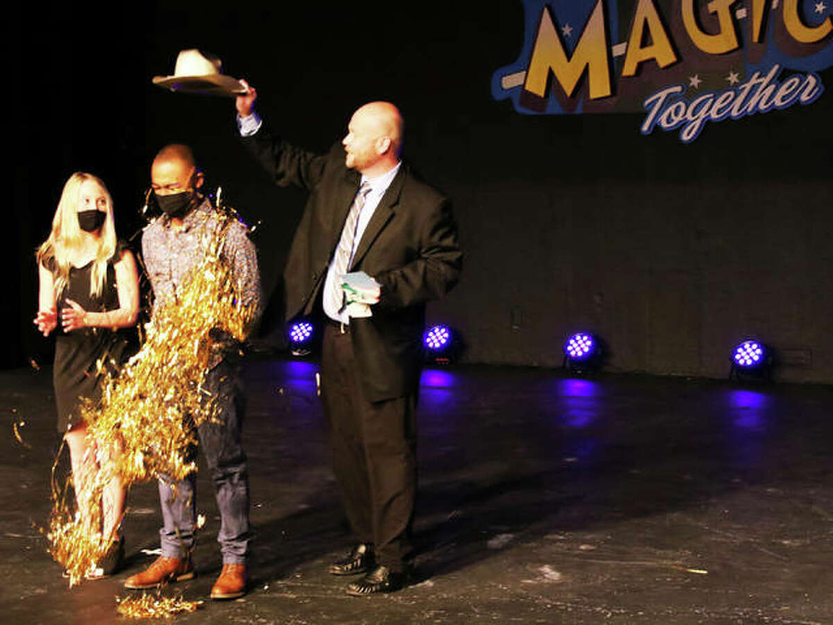 """Alton Little Theater's """"The Riverbend's Got Talent"""" second-place winner Madeline Cohill, 13, left, stands next to first-place winner Miles Brenton, 20, center, who took home $500 and the Golden Cowboy Hat of Confetti award, created by Alton Little Theater."""