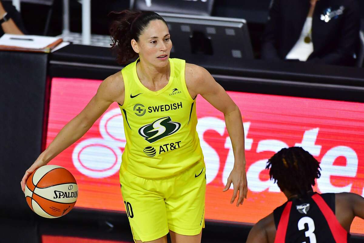 Sue Bird #10 of the Seattle Storm dribbles during the second half of Game 3 of the WNBA Finals against the Las Vegas Aces at Feld Entertainment Center on October 06, 2020 in Palmetto, Florida.