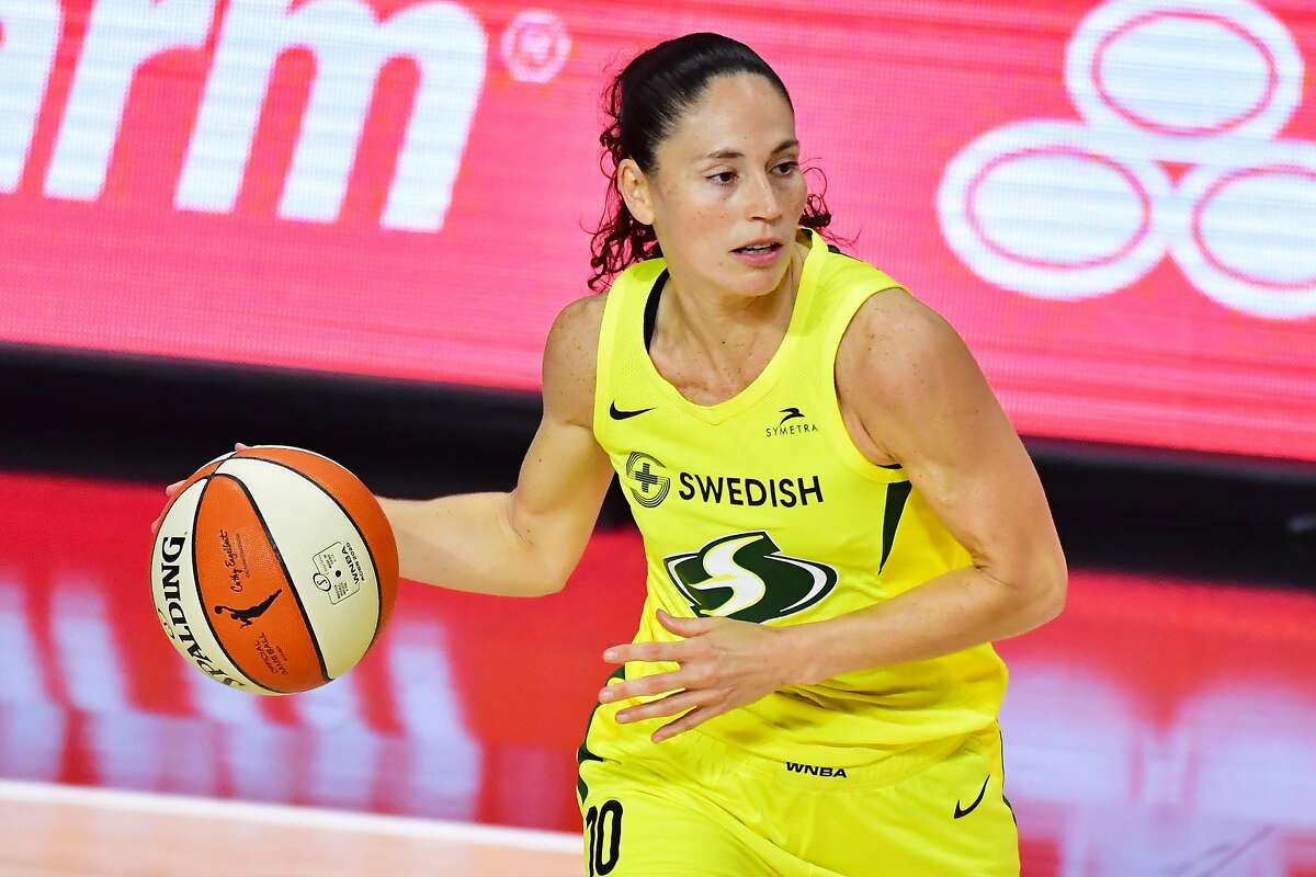 PALMETTO, FLORIDA - OCTOBER 06: Sue Bird #10 of the Seattle Storm looks to pass the ball during the second half of Game 3 of the WNBA Finals against the Las Vegas Aces at Feld Entertainment Center on October 06, 2020 in Palmetto, Florida. NOTE TO USER: User expressly acknowledges and agrees that, by downloading and or using this photograph, User is consenting to the terms and conditions of the Getty Images License Agreement. (Photo by Julio Aguilar/Getty Images)