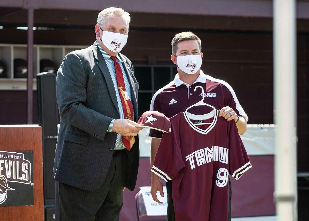 TAMIU athletic director Griz Zimmermann welcomes TAMIU baseball head coach Philip Middleton on Tuesday, Oct. 6, 2020 at Jorge Haynes Field.