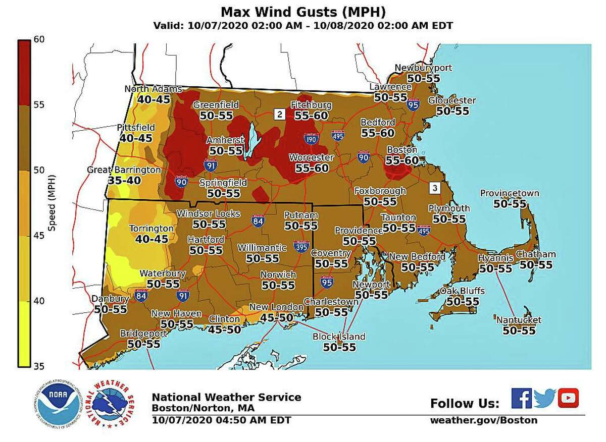 The strongest gusts are expected between 5 and 11 p.m. on Wednesday, Oct. 7, 2020, according to the NWS's hourly forecast.